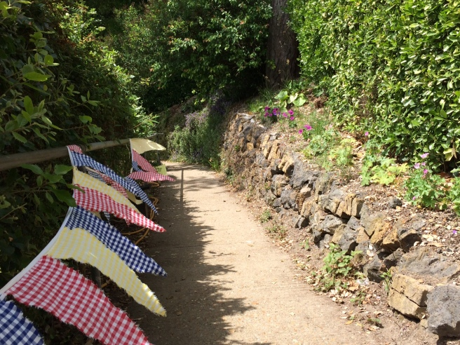 A bit of bunting brightened up the path from the gate down to the garden.