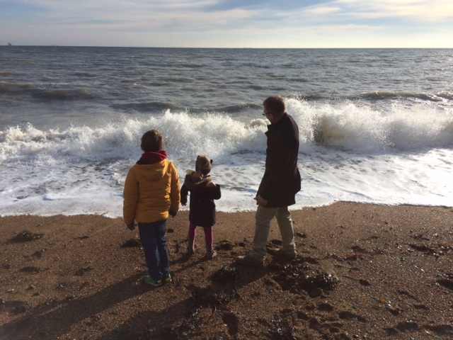 Throwing stones into crashing waves is some of the best fun you can have (my brother, niece and nephew).